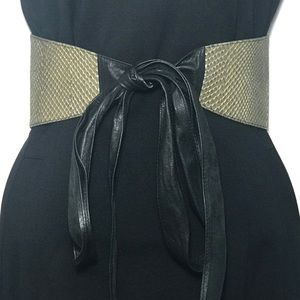 Accessories - Gold Snakeskin Embossed Obi Leather Belt Small